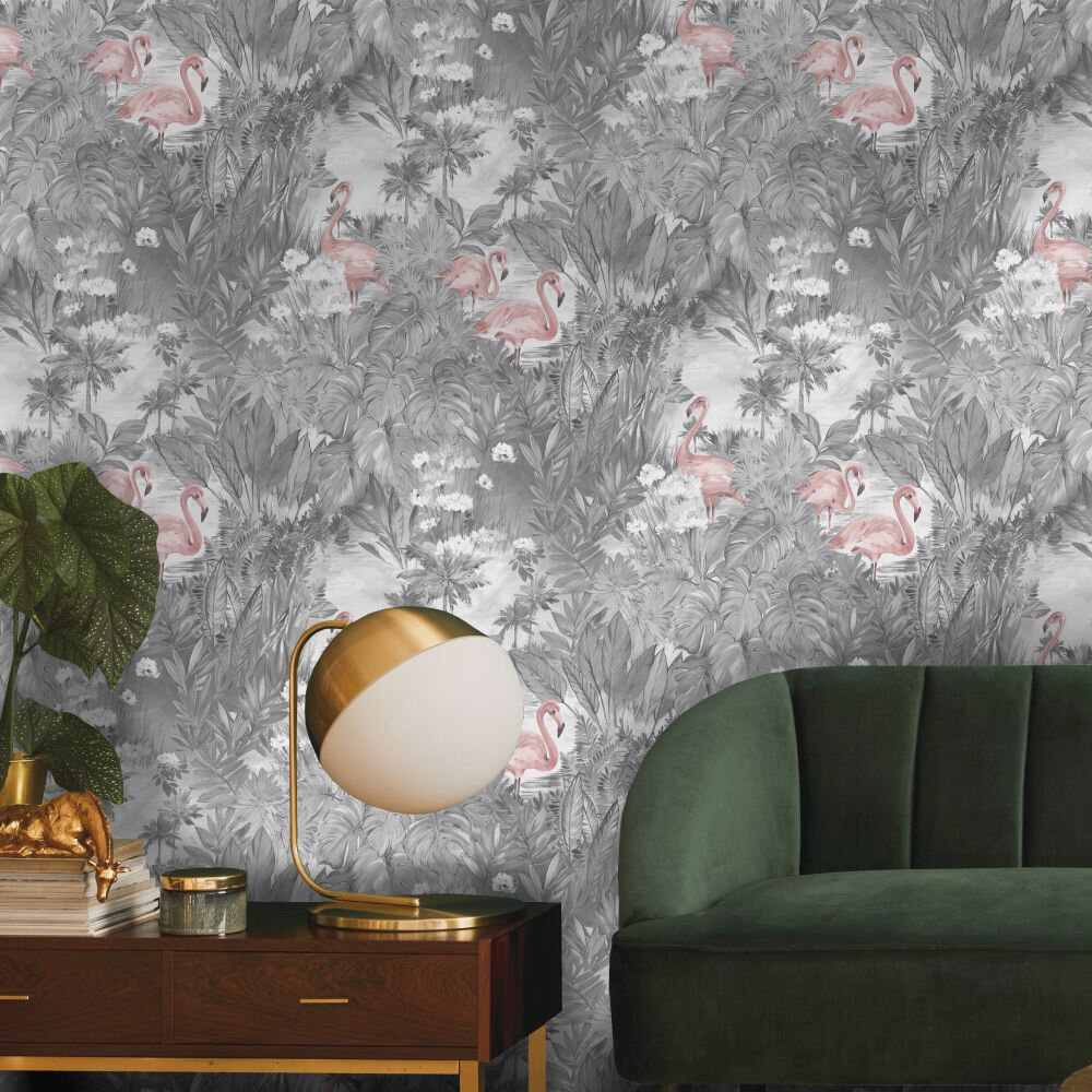 Sarasota Wallpaper - Grey / Pink - by Albany
