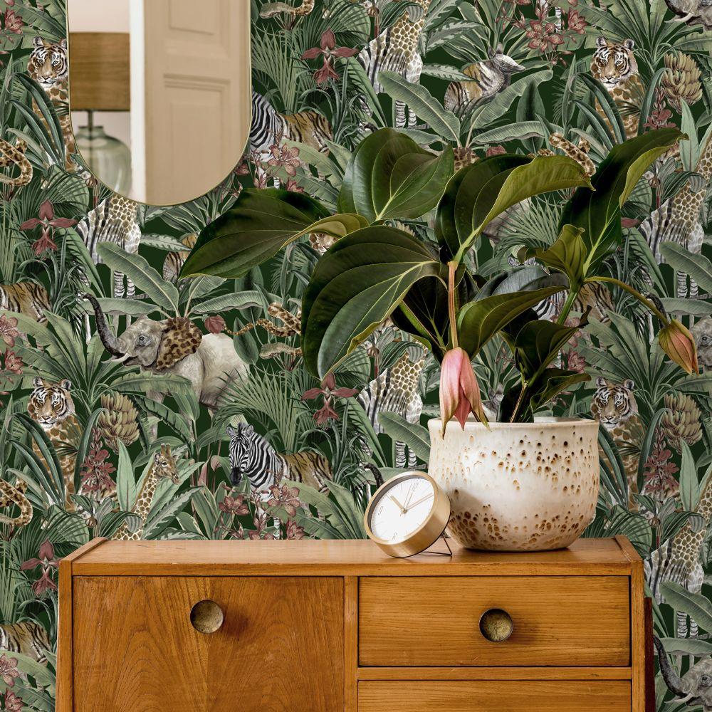 Serengeti Wallpaper - Green - by Albany