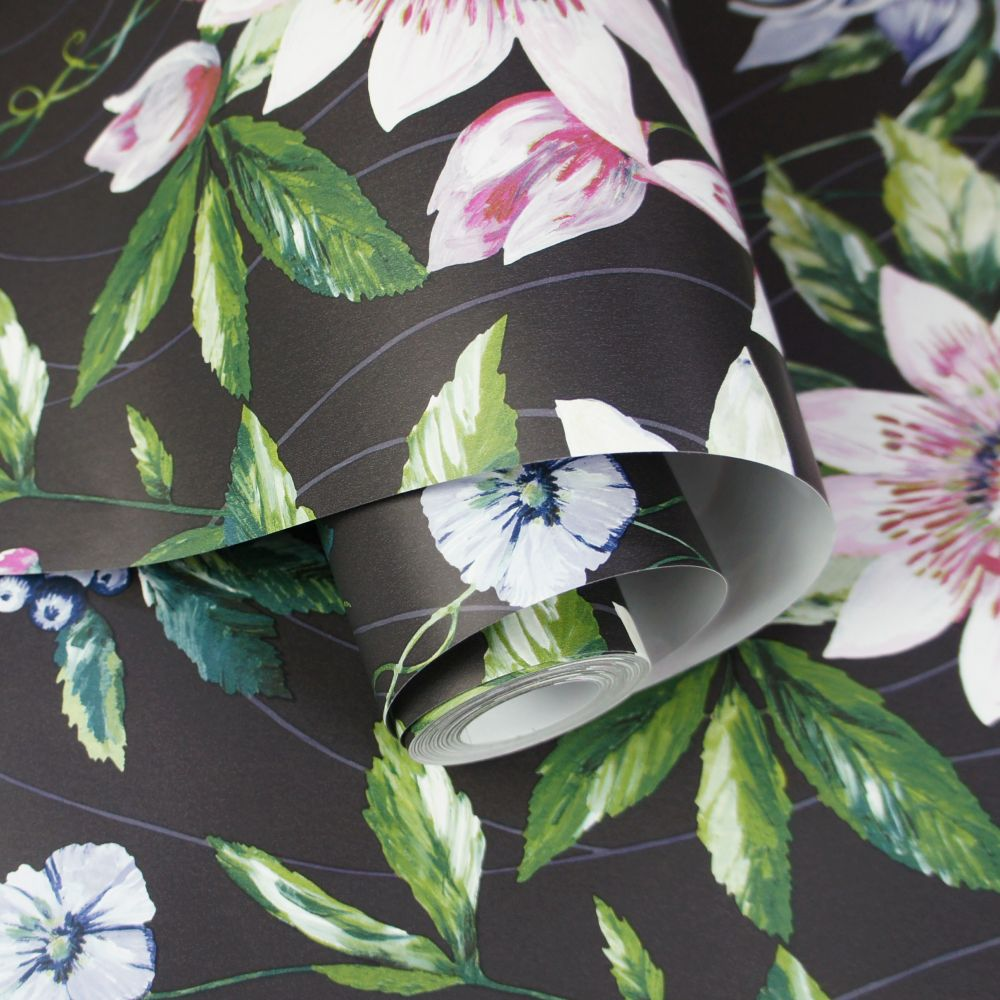 Passiflora Wallpaper - Black - by Albany