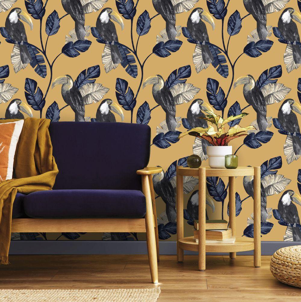 Tiki Wallpaper - Ochre - by Albany