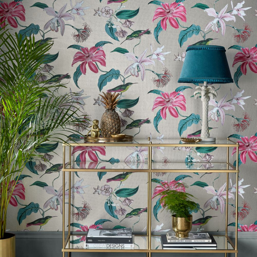 Tropique Wallpaper - Pink / Gold - by Albany