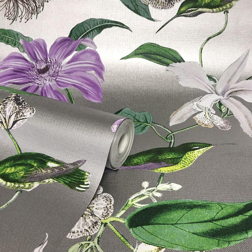 Tropique Wallpaper - Lilac / Gilver - by Albany