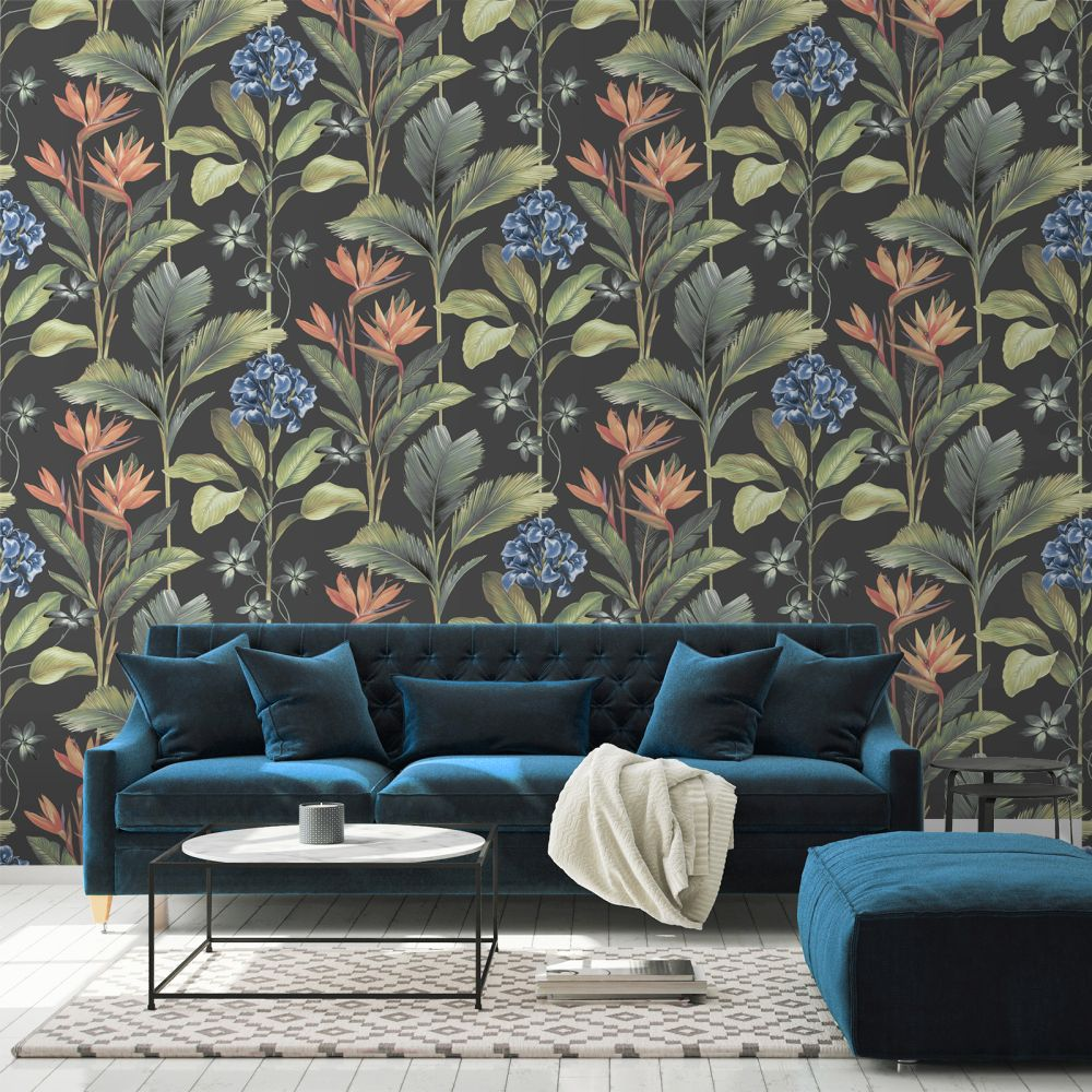 Oliana Floral Wallpaper - Charcoal - by Albany