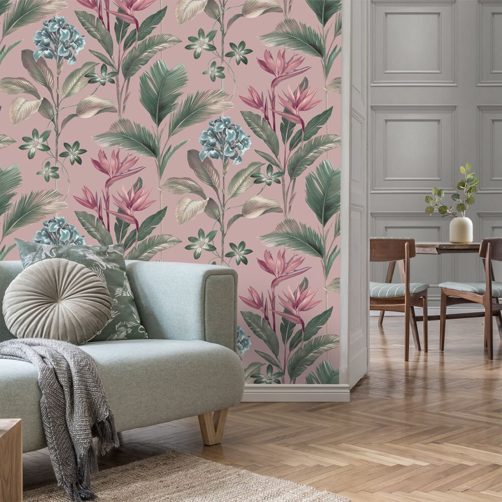 Oliana Floral Wallpaper - Pink - by Albany