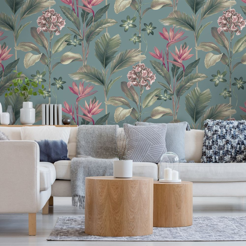Oliana Floral Wallpaper - Teal - by Albany