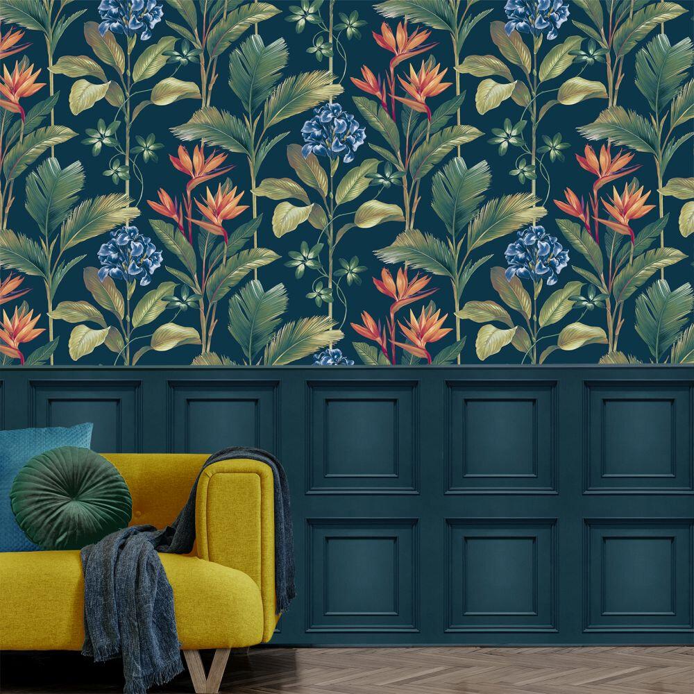 Oliana Floral Wallpaper - Navy - by Albany