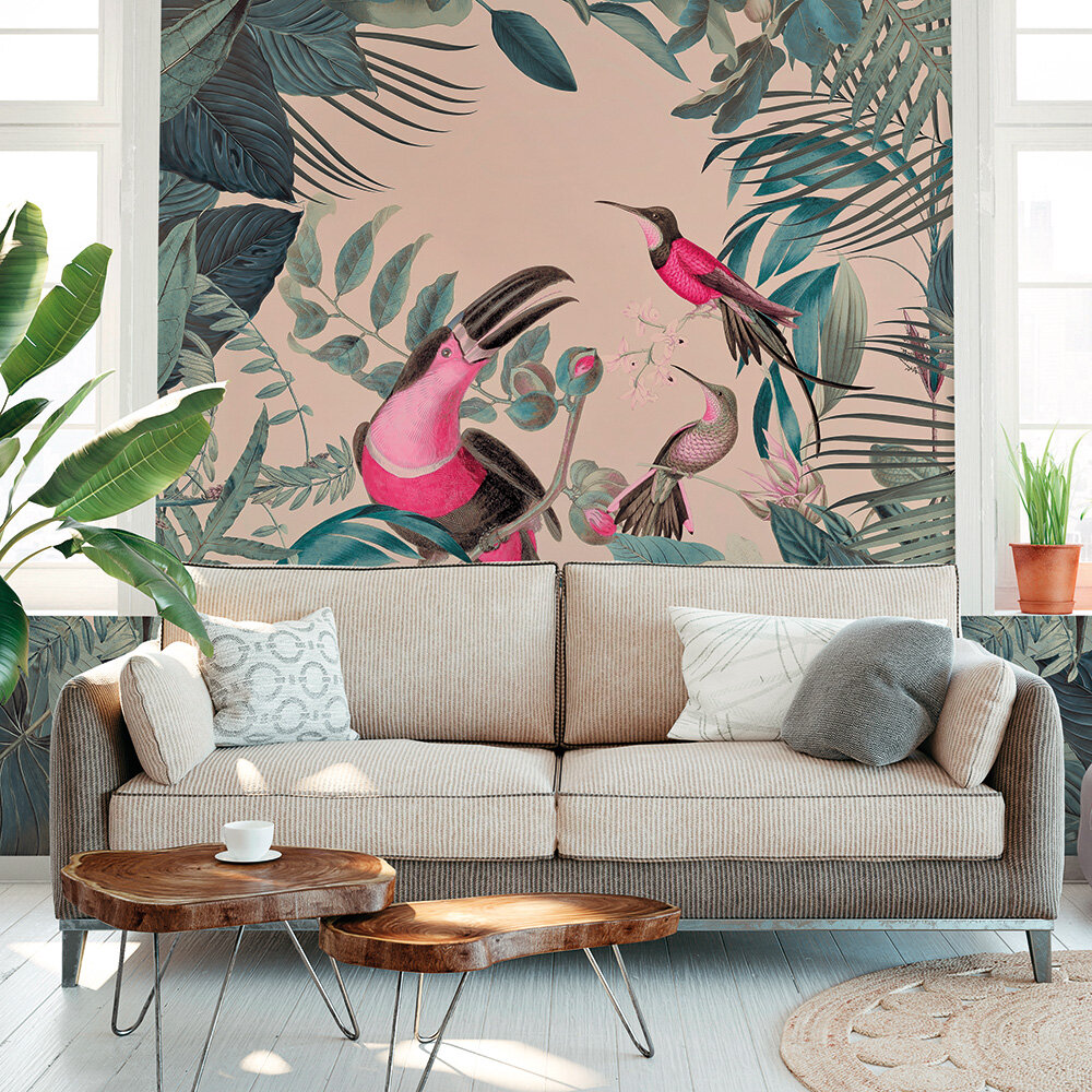 Toucans Paradise Mural - Pink - by ARTist