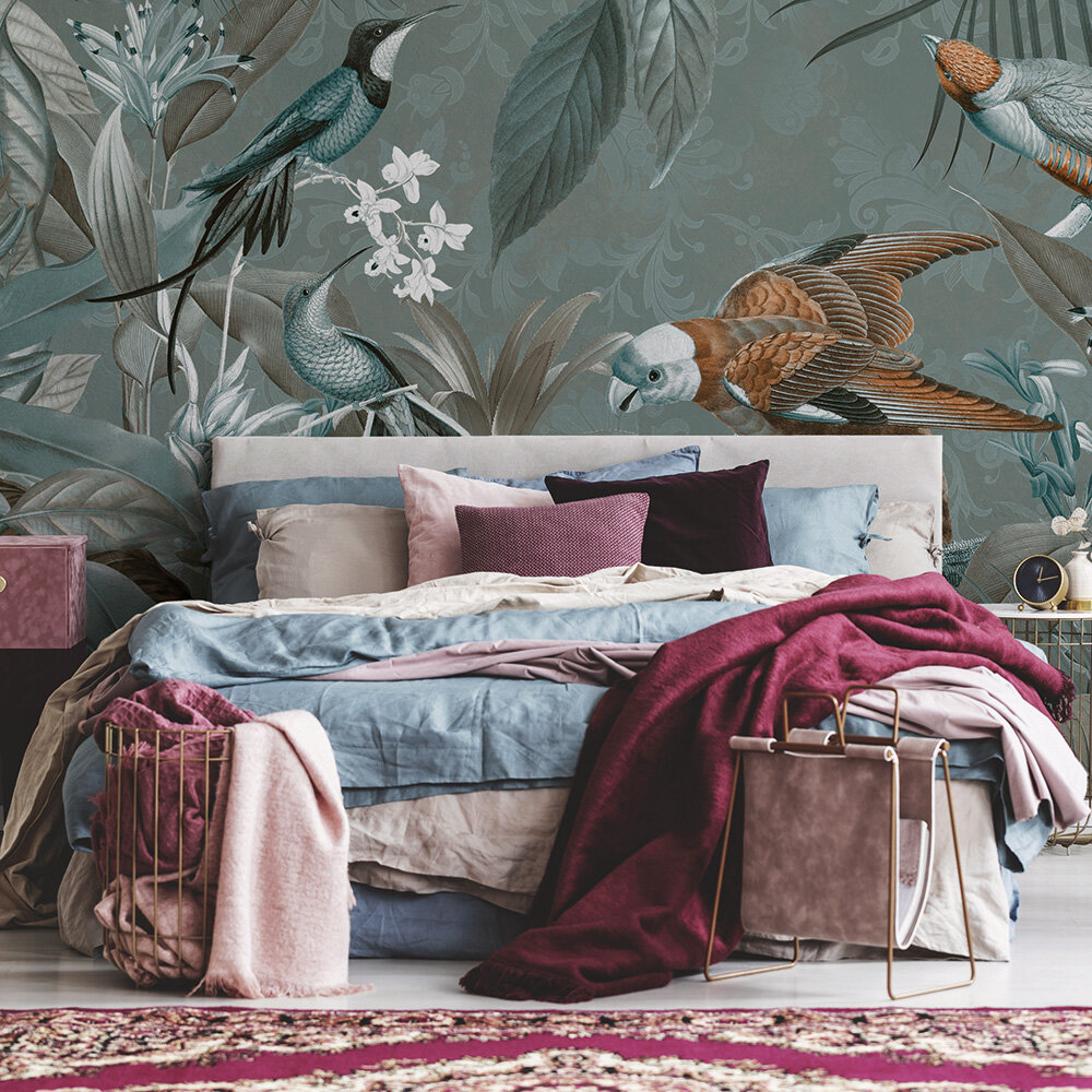 Tropical Jungle Mural - Teal - by ARTist