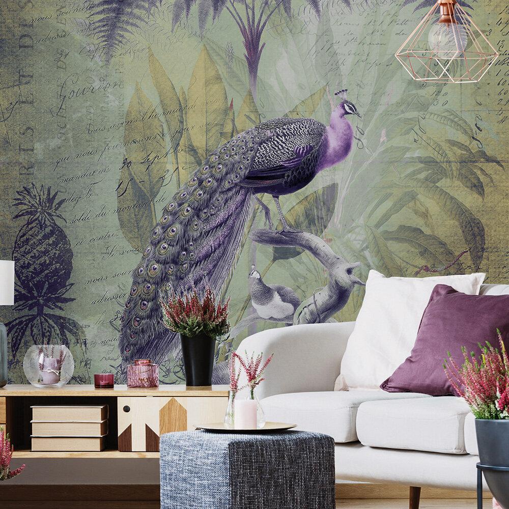 Peacock Jungle Mural - Green - by ARTist