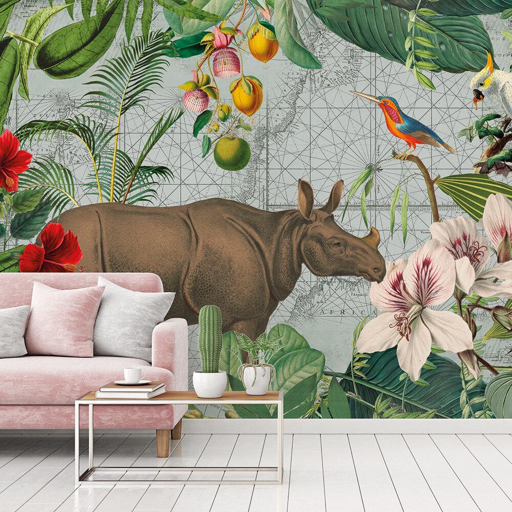 Jungle Rhino Mural - Multi - by ARTist