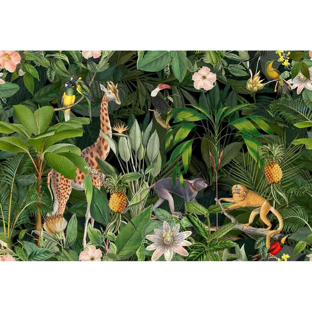 Nostalgic Animals Mural - Green - by ARTist