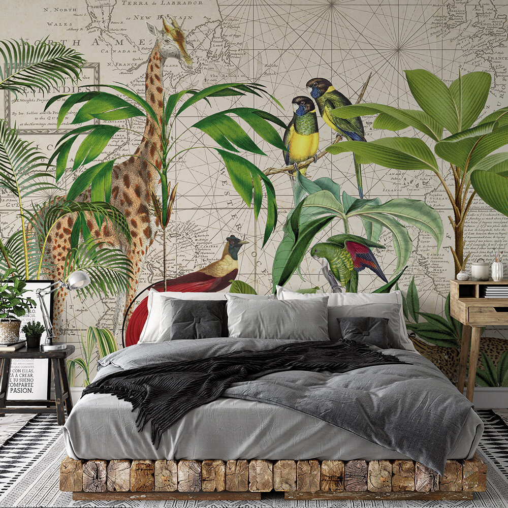 Palm Tree Map Mural - Multi - by ARTist