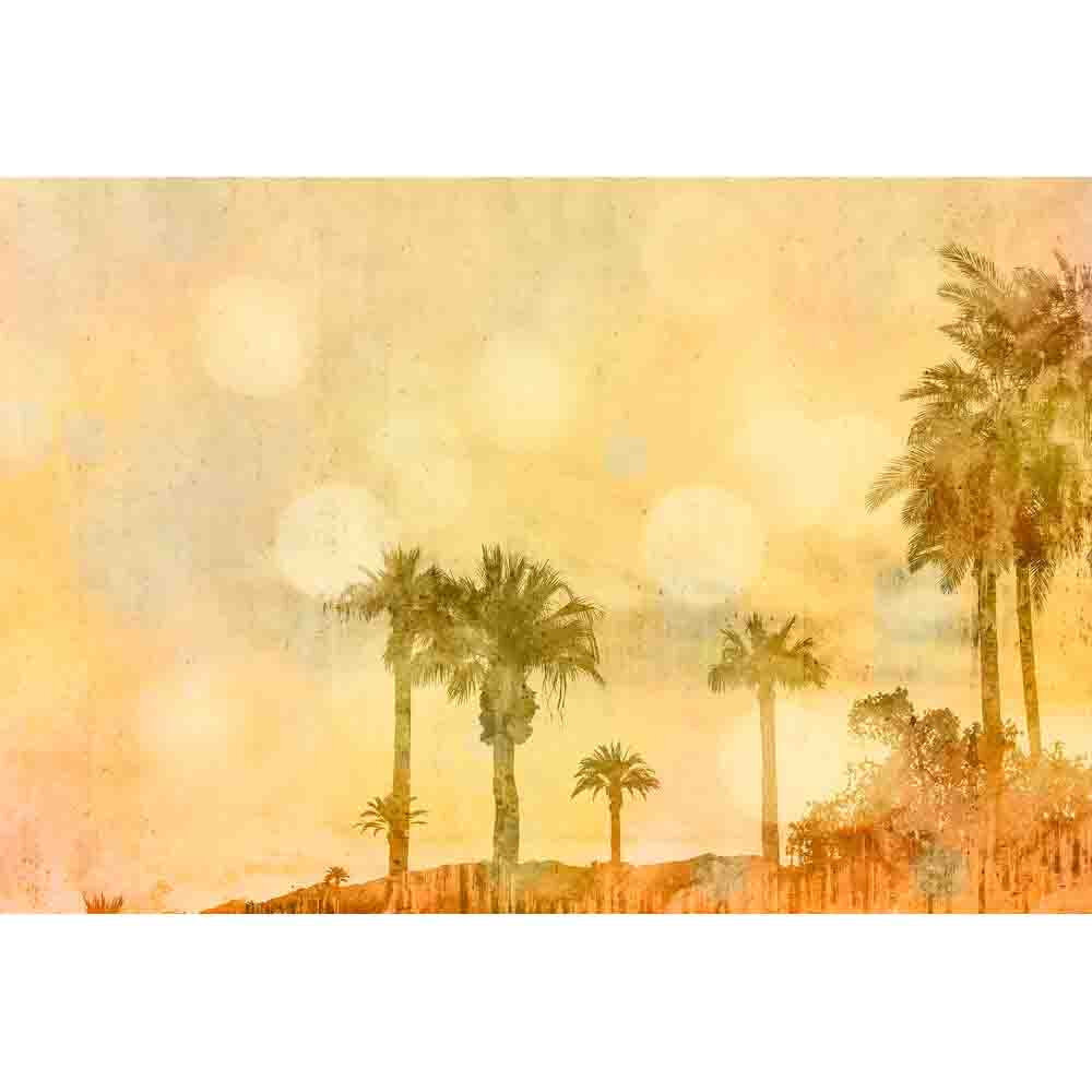 Palm Oasis Mural - Yellow - by ARTist