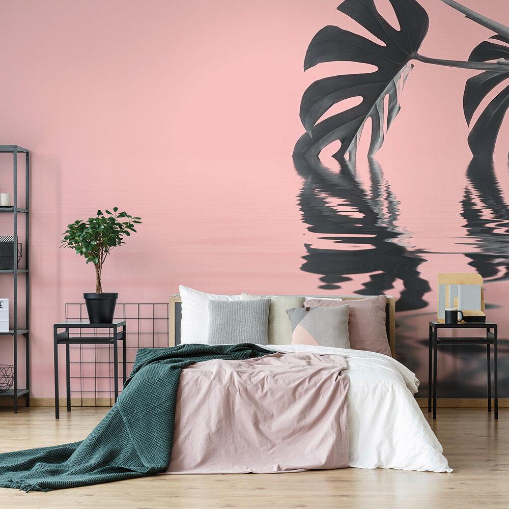 Monstera Leaf 1 Mural - Pink - by ARTist