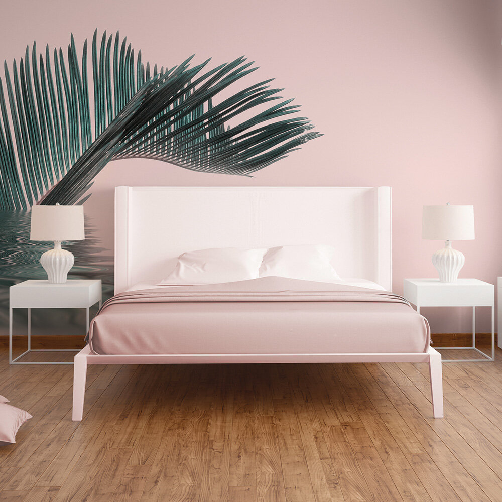 Palm Leaf Water Mural - Pink - by ARTist