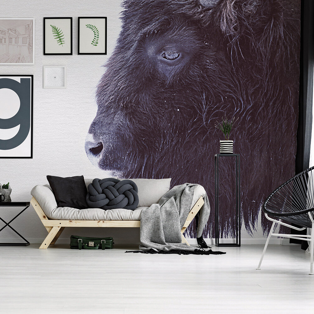 Black Buffalo Mural - Grey - by ARTist