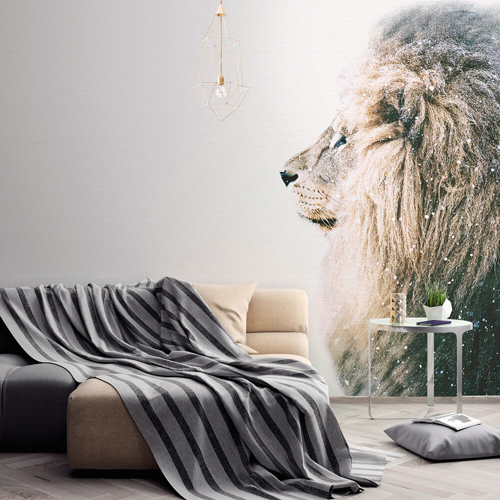 Lion in Snow Mural - Brown - by ARTist