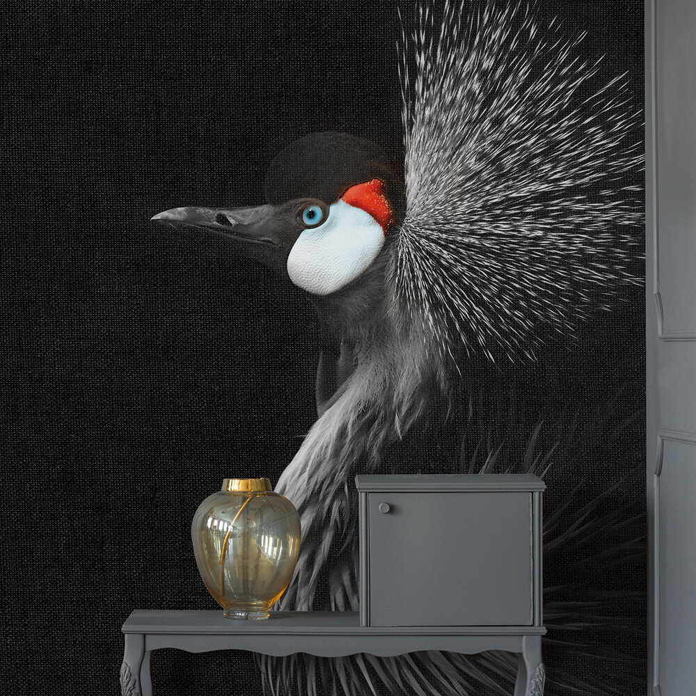 Crowned Crane Mural - Black - by ARTist