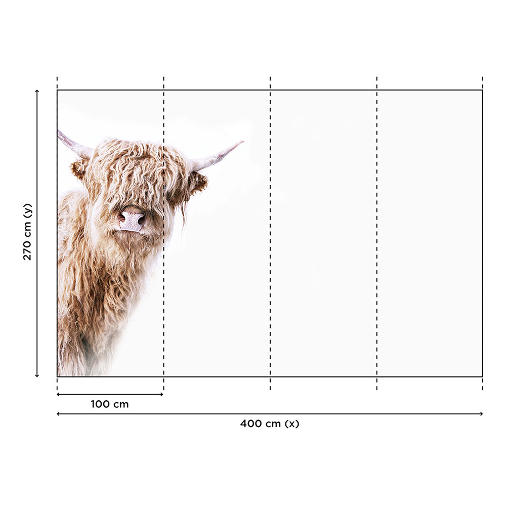 Highland Cattle 2 Mural - Brown - by ARTist