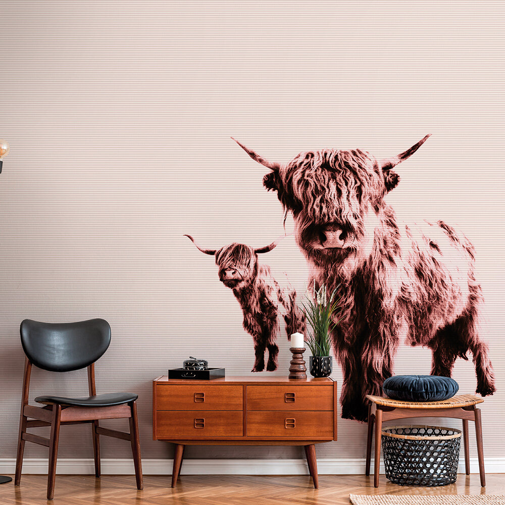 Highland Cows Mural - Brown - by ARTist