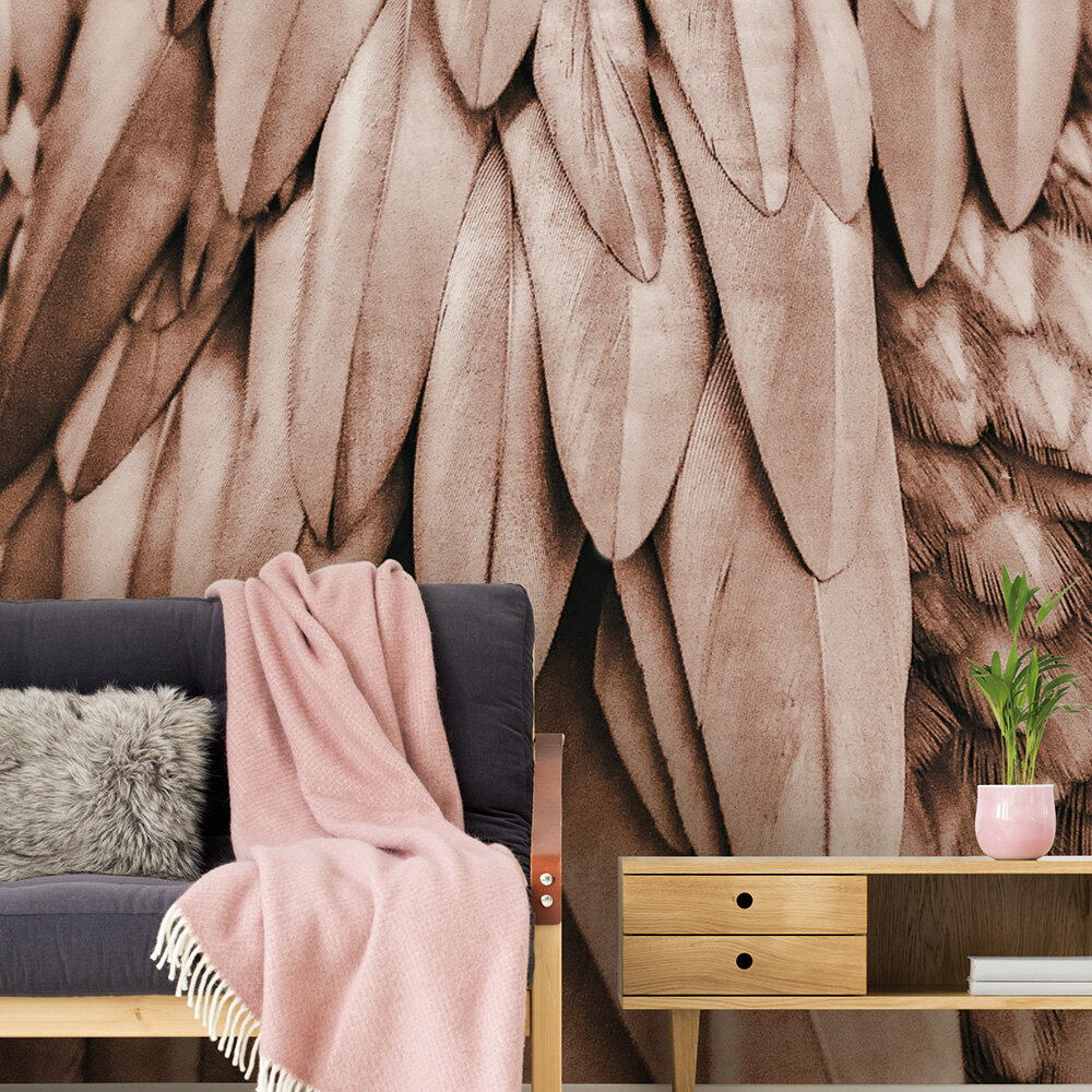 Feathers Mural - Brown - by ARTist
