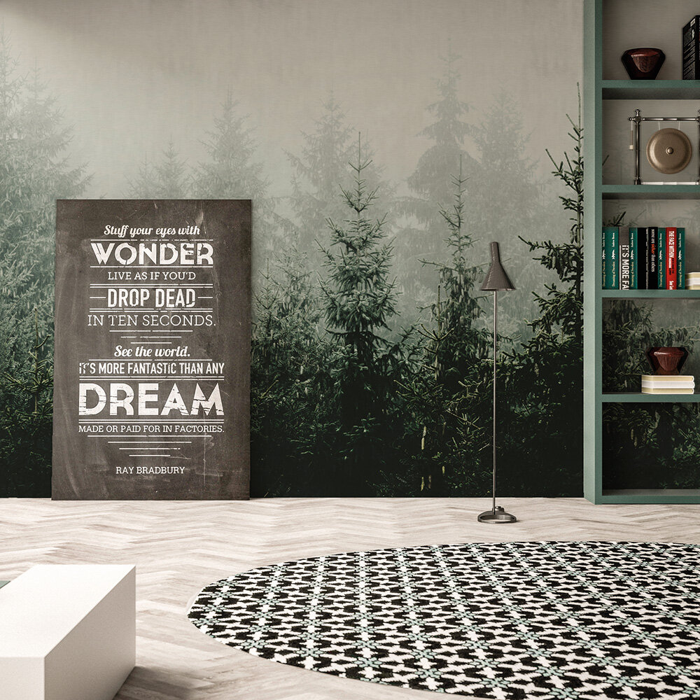 Mountain Forest Mural - Green - by ARTist