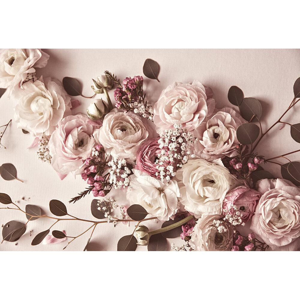 Flat Lay Flower Mural - Pink - by ARTist