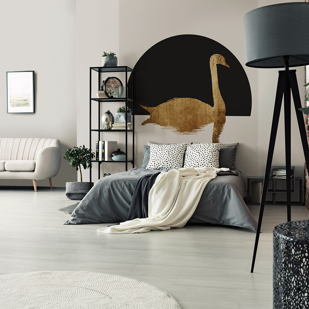 The Swan 1 Mural - Black/Gold - by ARTist