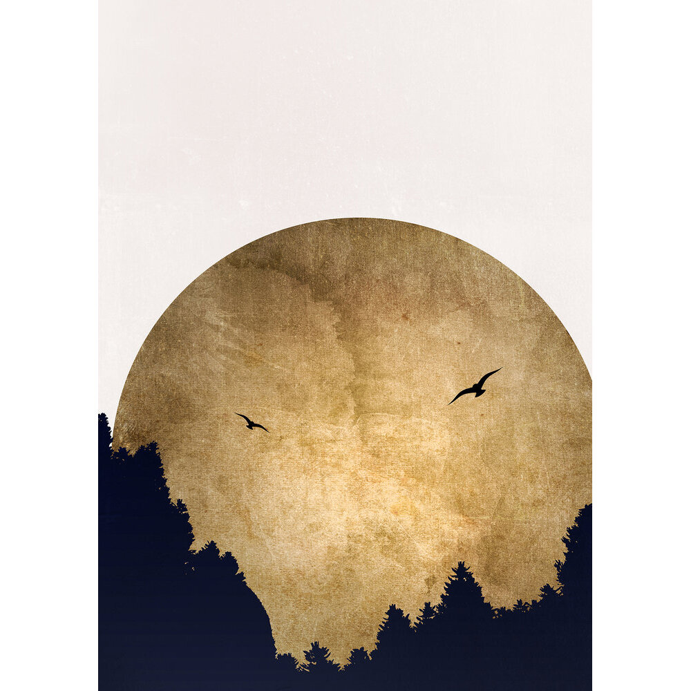 Two Birds Mural - Gold/Black - by ARTist