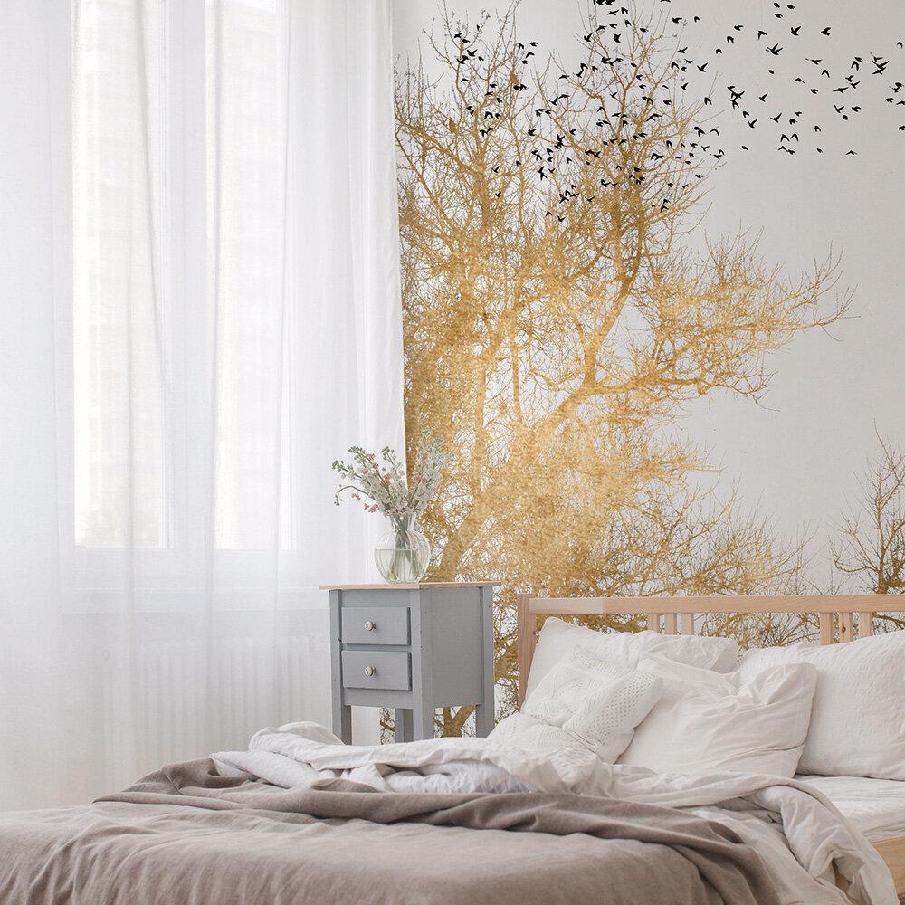Golden Skies Mural - Gold/Black - by ARTist