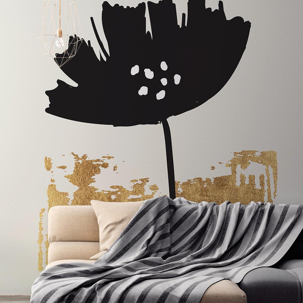 Black Poppy Mural - Black/Gold - by ARTist