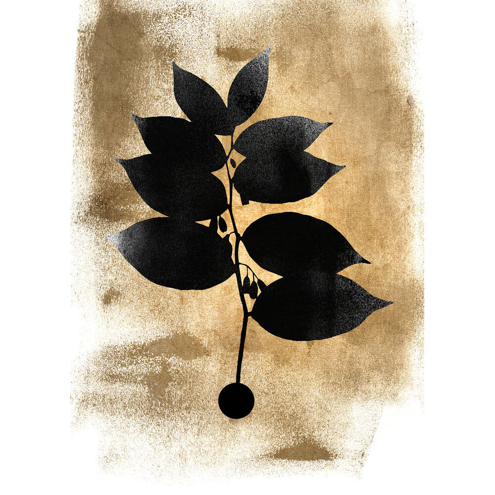 Dark Leafs Mural - Black/Gold - by ARTist