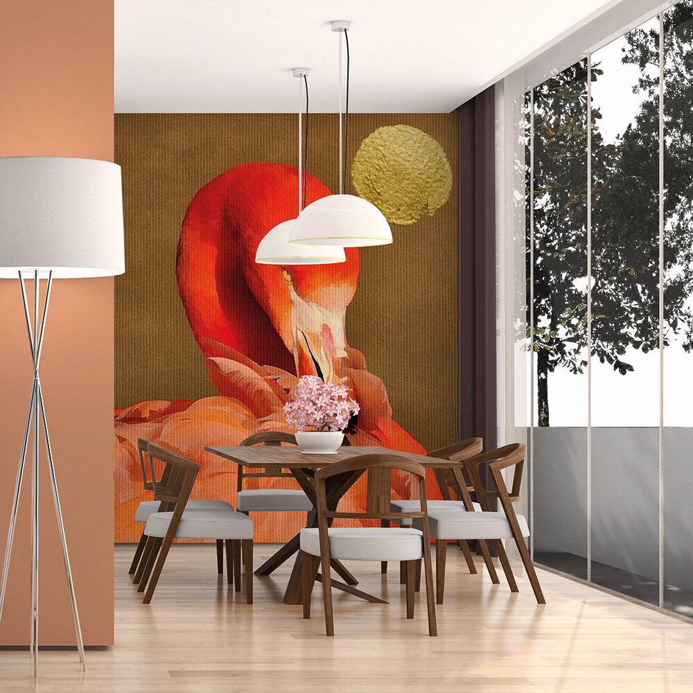 Flamingo in the sun Mural - Tangerine - by ARTist