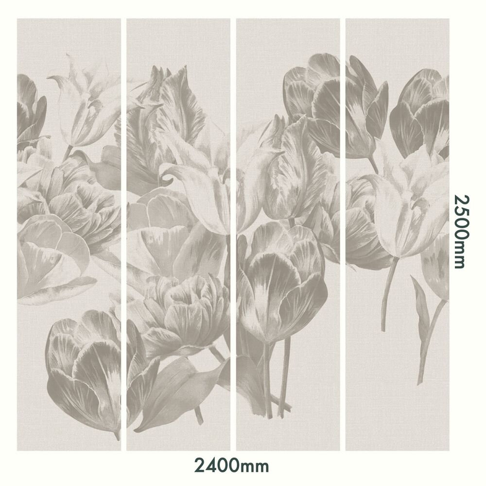 Tulip Gardens Mural - Greyscale - by Ted Baker