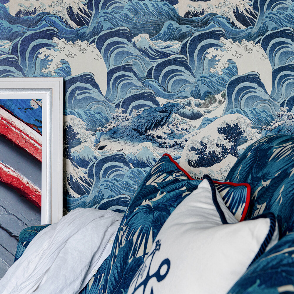 Sea Waves Wallpaper - Light Blue - by Mind the Gap
