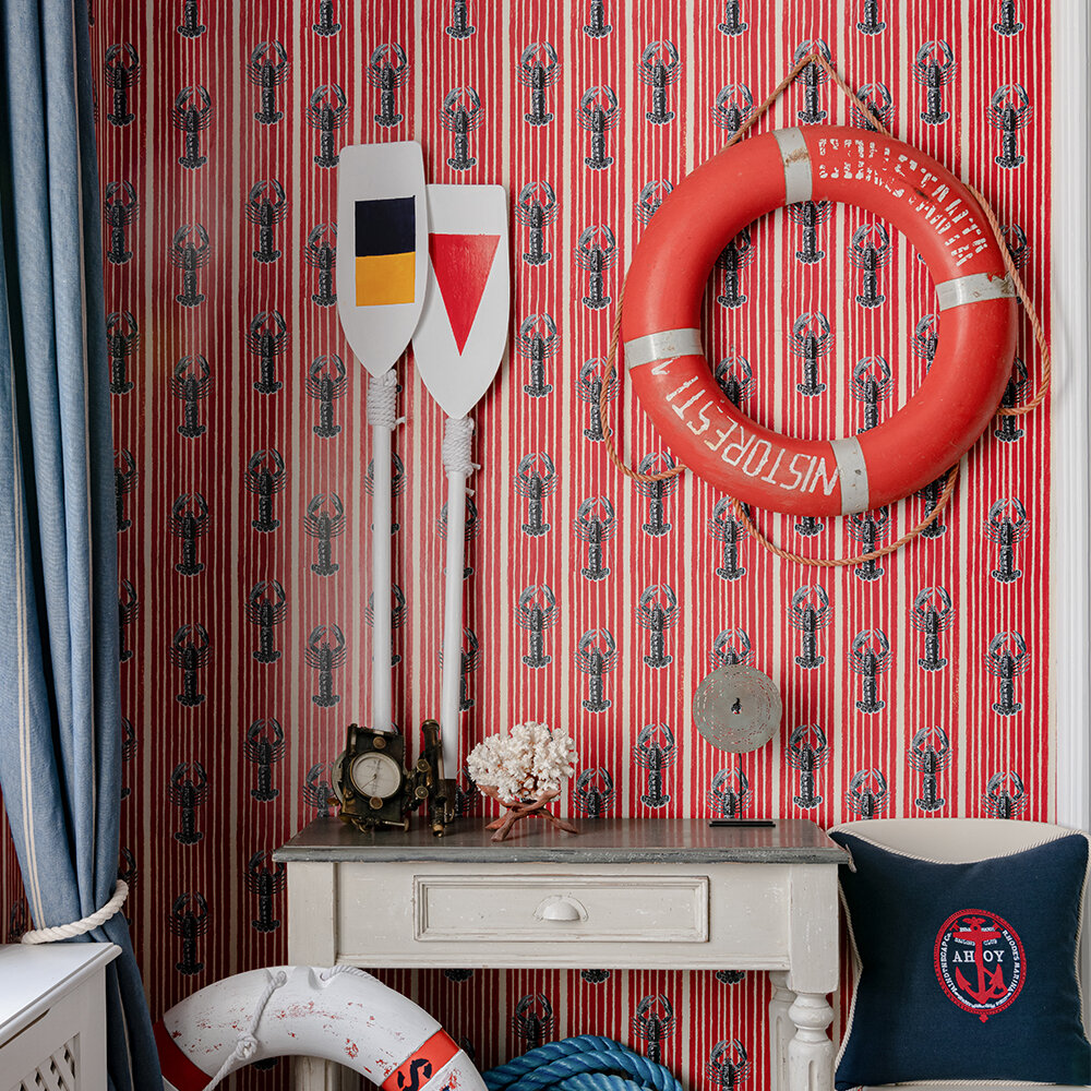 Mediterranean Lobsters Wallpaper - Red - by Mind the Gap