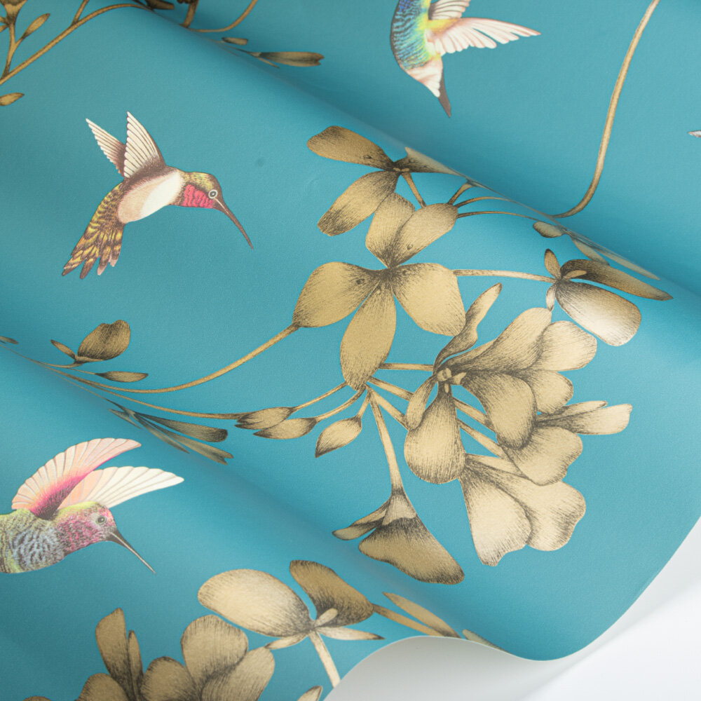Amazilia Wallpaper - Teal/Gold - by Harlequin