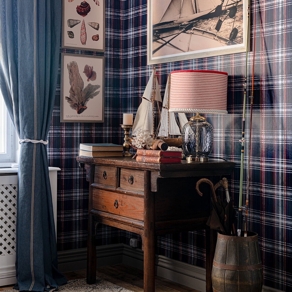 Seaport Plaid Wallpaper - Navy Blue - by Mind the Gap