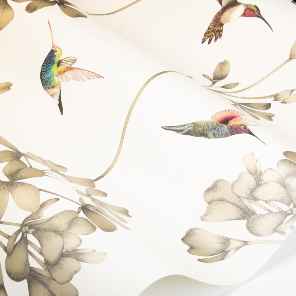 Amazilia Wallpaper - Stone/Gold - by Harlequin