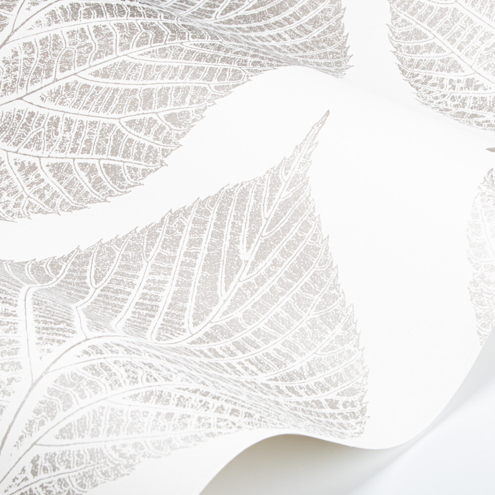 Leaf Wallpaper - Chalk/Silver - by Harlequin