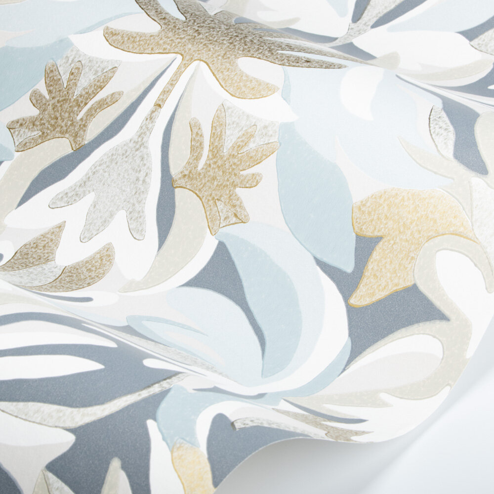 Melora Wallpaper - Hempseed/Exhale/Gold - by Harlequin
