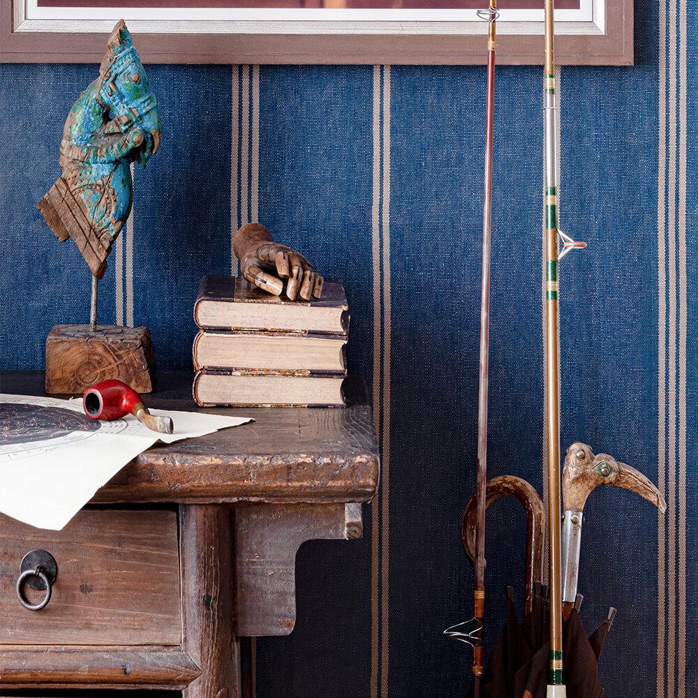 Katalin Stripe Wallpaper - Seaport Blue - by Mind the Gap