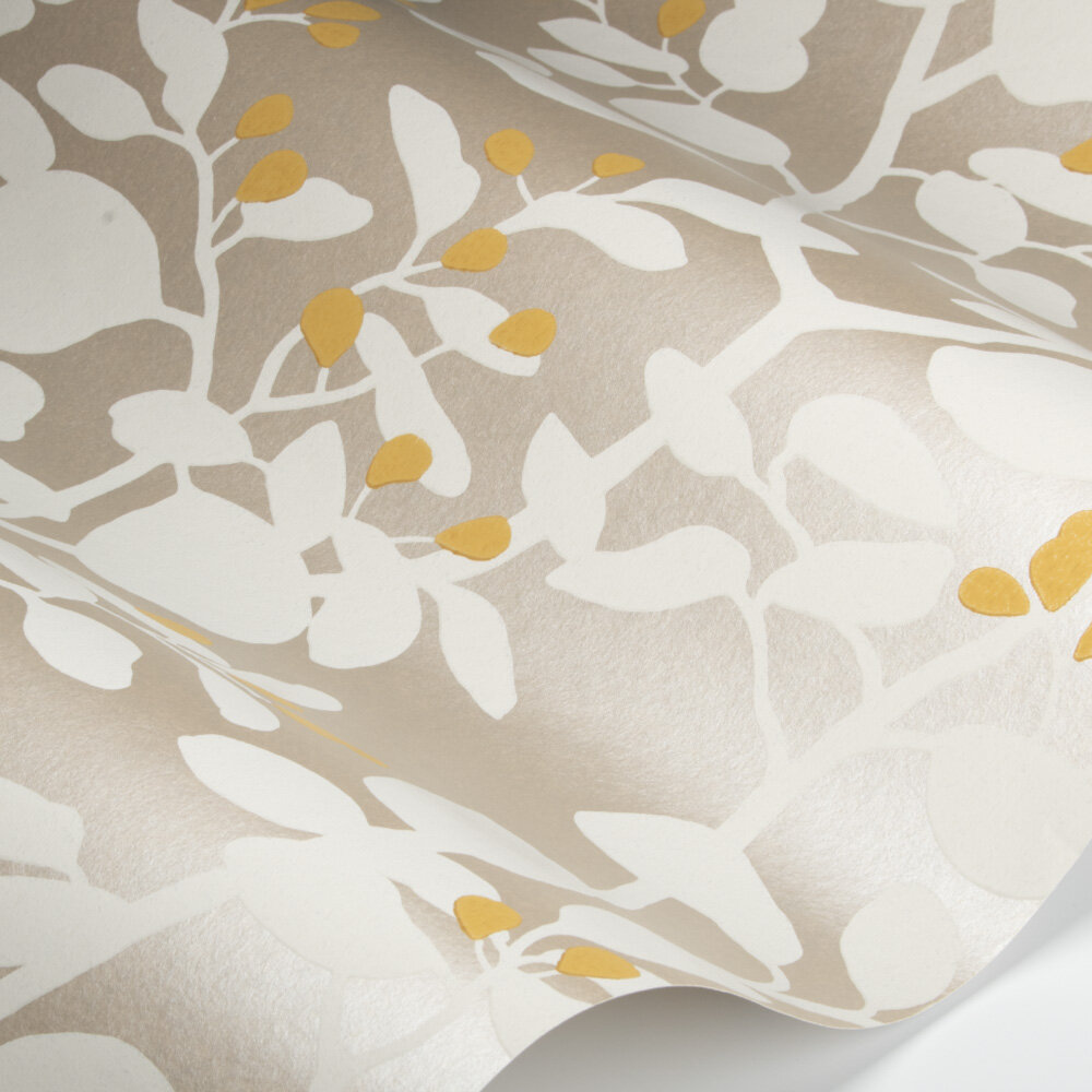 Ardisia Wallpaper - Soft Focus/Oyster/Gold - by Harlequin