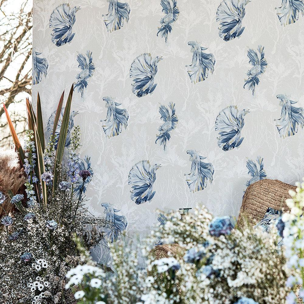 Halfmoon Wallpaper - Stillness/Indigo - by Harlequin