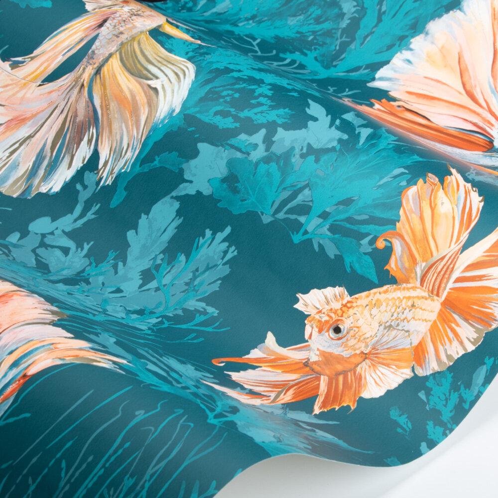 Halfmoon Wallpaper - Azurite/ Coral - by Harlequin