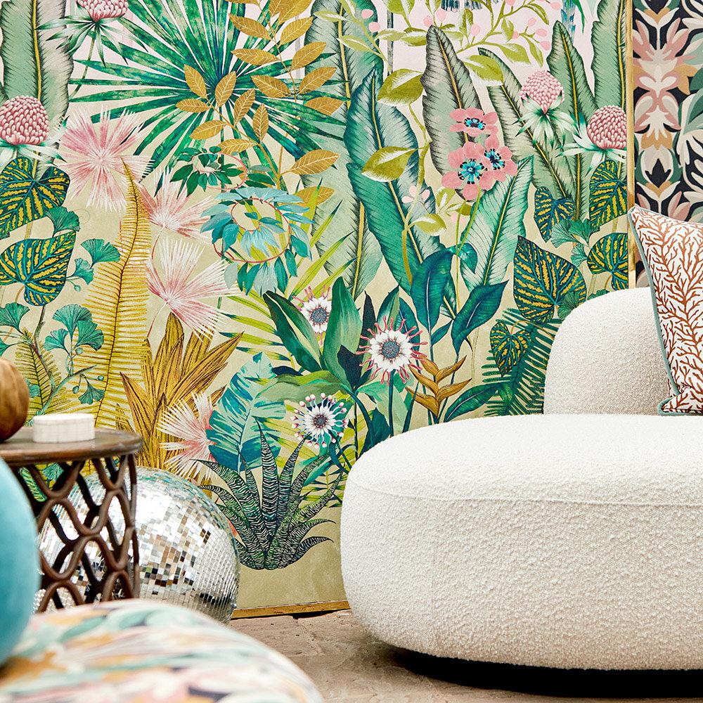 Floreana Mural - Bleached Coral/Succulent/Fig Leaf - by Harlequin