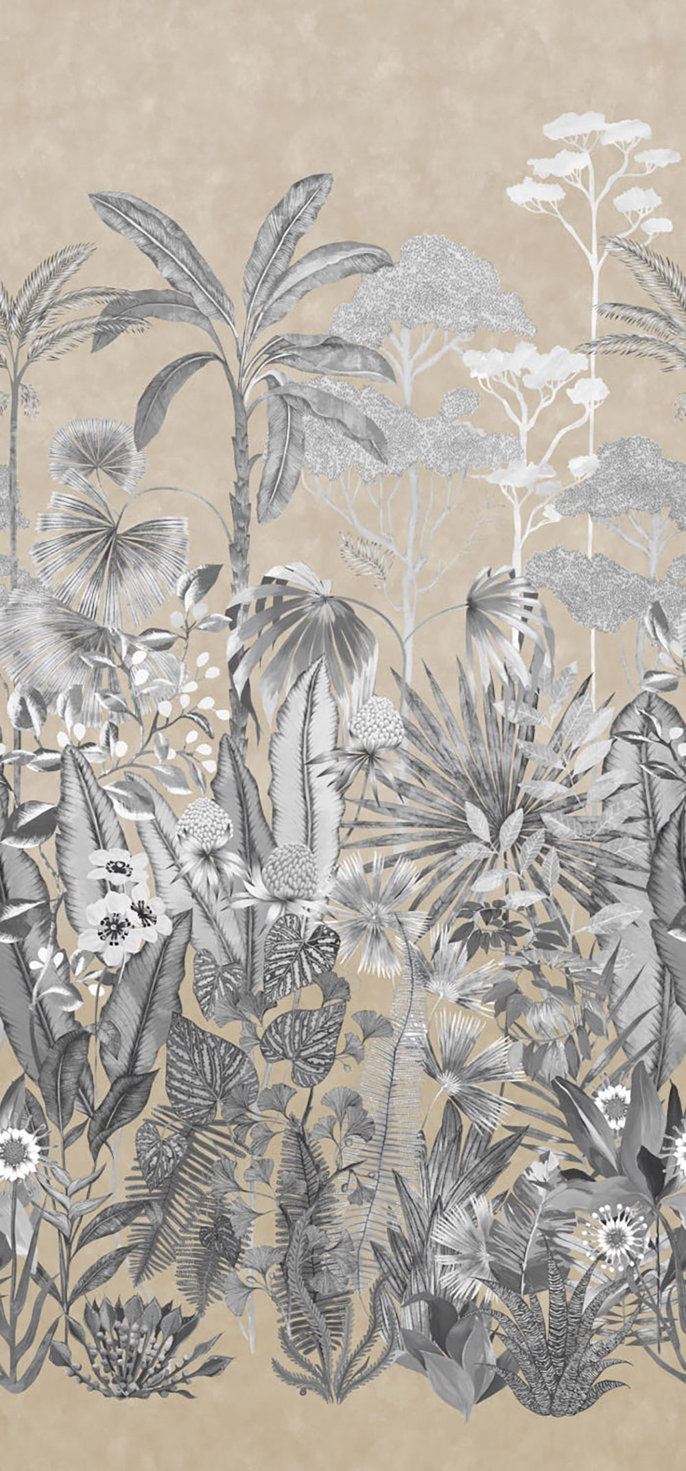 Floreana Mural - Gilt/Black Earth/Tranquility - by Harlequin
