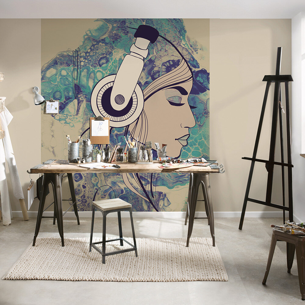 Acryl Lady Mural - Blue - by ARTist