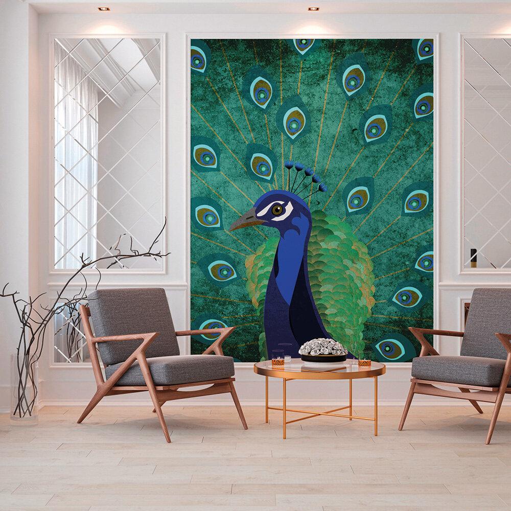 Peacock Mural - Blue - by ARTist