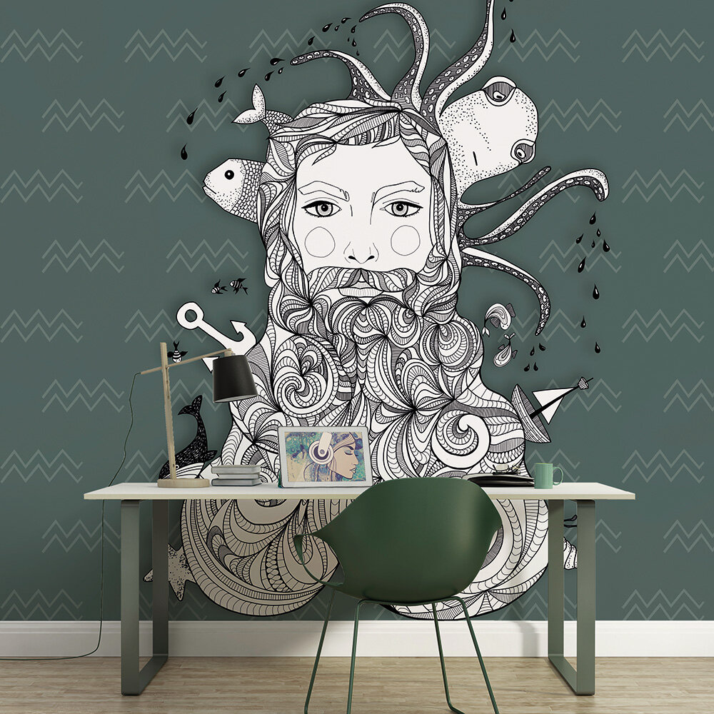 Aquarius Mural - Green - by ARTist